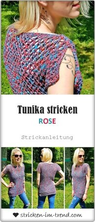Knitting Pattern for a tunic / top in mesh in all sizes | Tunic ROSE