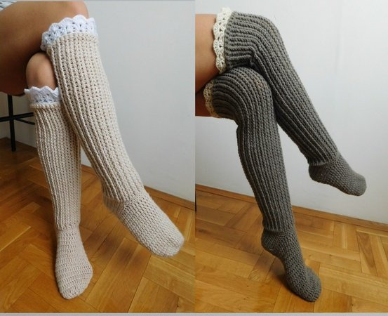 Over The Knee Socks Crochet Knee High Socks