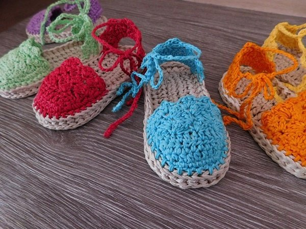 Crochet Patterns For Baby Shoes And Sandals : Baby Espadrille, Baby Sandals , Baby booties, Crochet Pattern
