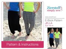 JELLAs harem pants PDF pattern & E-Book, sizes 158 – 46 (Kids M – women´s L/XL) - Instand Download