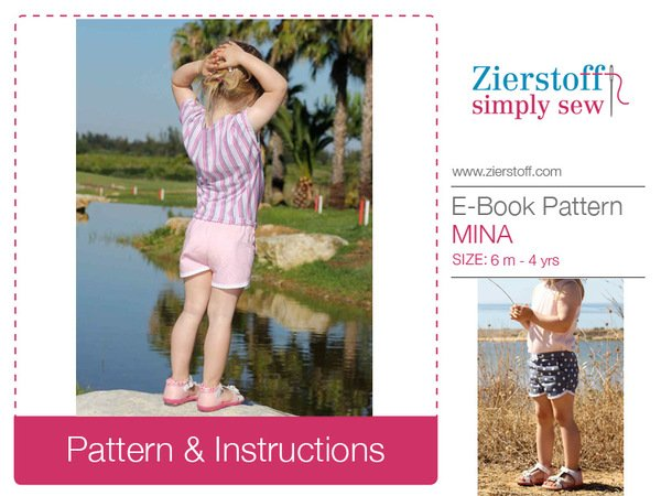 MINAs shorts pattern, unisex, sizes 62-104 (6 mo.- 4/5 yrs.) / Instant Download
