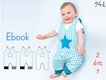 "Baby onepiece pattern, dungaree, overall, jumpsuit, playsuit, lined, reversible, girls + boys, Ebook pattern pdf ""Alberto"" from Pattern4kids"