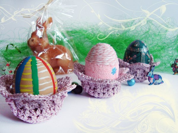 Crochet Easter Basket, Easter Decoration, Crochet Egg Holder, Easter ...
