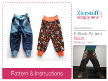 Felixs reversible baggy trousers pattern / unisex, sizes 62-104 (6 mo. – 4/5 yrs.)