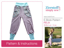 Felixs reversible baggy trousers pattern / unisex, sizes 110-152 (5-12 yrs.