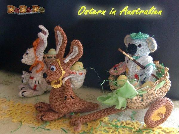 Känguru und Koala feiern Ostern in Australien - gehäkelt von Dadade