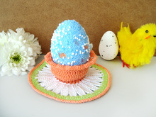 Daisy Easter Decoration Pattern, Crochet Easter Basket, Crochet Egg Holder, Easter Cup, Easter gifts, Crochet daisy, Pdf Pattern