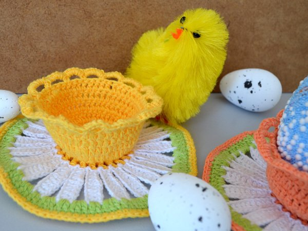 Easter Decoration Pattern, Crochet Easter Basket, Crochet Egg Holder ...