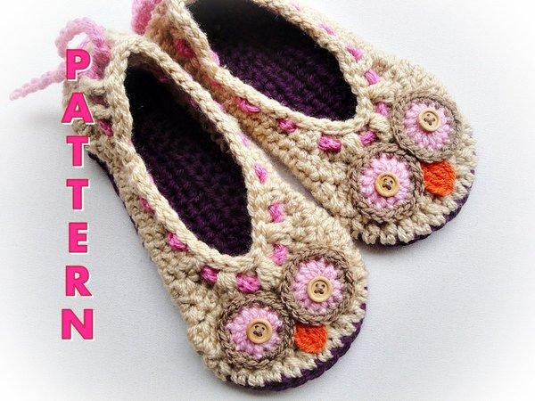 Free Crochet Patterns For Owl Slippers : Cuddling Owls Crochet Slippers Pattern