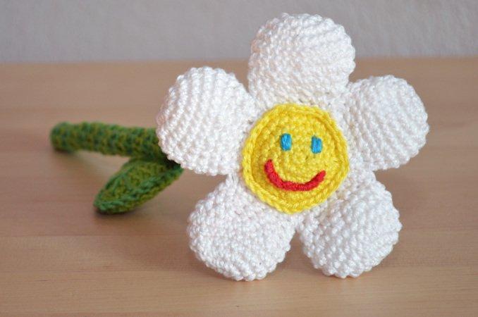 Blume Häkeln Stengel Blätter Lächeln
