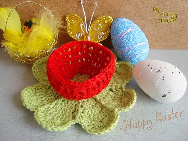 Crochet Egg Holder : Easter Decoration Pattern, Crochet Easter Basket, Crochet Egg Holder ...