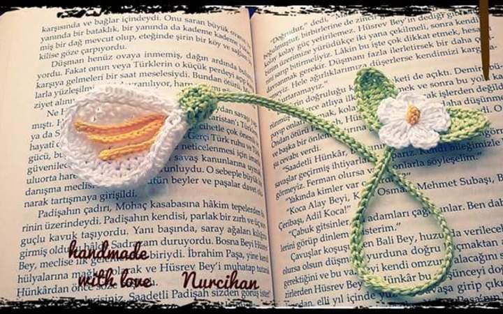 Lesezeichen Blume häkeln // schöne Blüte