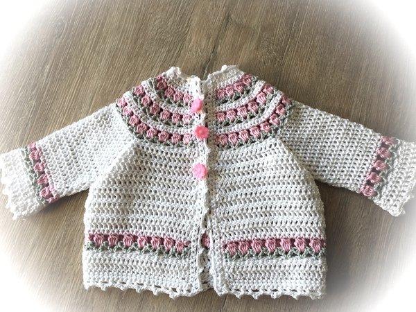 Häkel Anleitung Babyjacke Aus Baumwolle 0 3 Monate 3 6 Monate