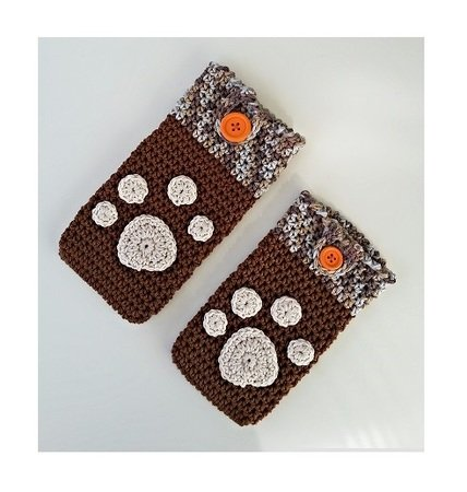 Smartphone Cozy with Paw Print Applique - Crochet Pattern