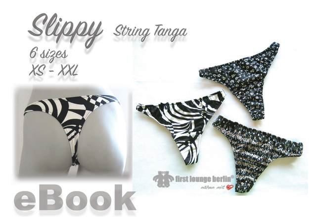 Us-Slippy String Tanga PDF E-Book sewing patterns in 6 sizes xs-xxl handmade with Love by firstloungeberlin