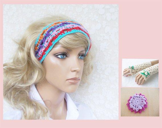 Häkel-Set Stirnband (headband), elegante Armstulpen (cuffs ...