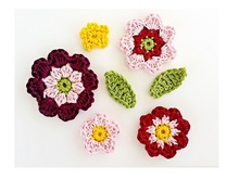 """Flowers and Leaves"" Applique Crochet Pattern"