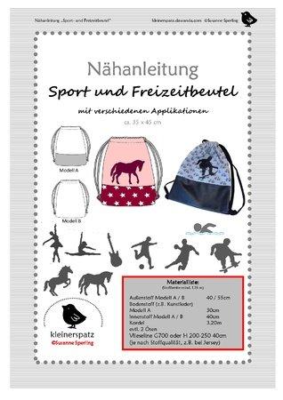 Nähanleitung, Schnittmuster (pdf) Gymbag, Turnbeutel, Sporttasche