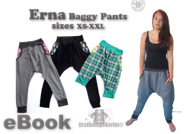US-Erna *** E-Book Pdf instant Download - hip trousers with side pockets sewing patterns size xs-xxl - designed and handmade with Love by firstloungeberlin