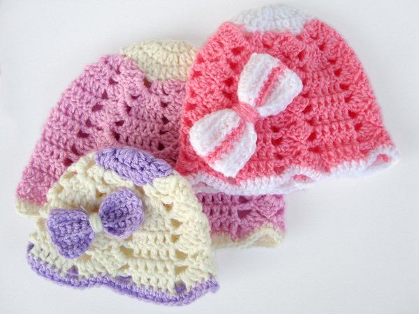 Crochet Baby Ribbon Hat, Girls Hat, Crochet Beanie, Infant ...