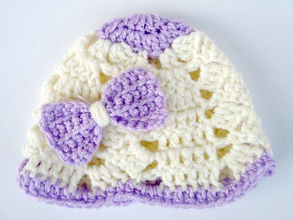 Crochet Baby Hat With Ribbon Pattern : Crochet Baby Ribbon Hat, Girls Hat, Crochet Beanie, Infant ...