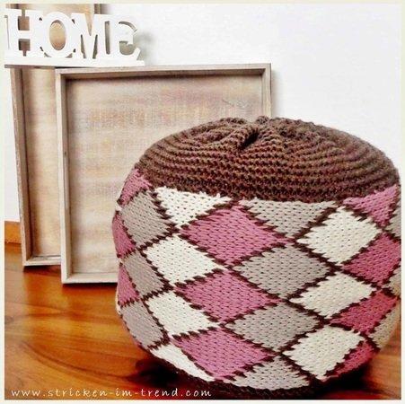 strickanleitung f r kissen polster sitzkissen f r kinder homeware pouf kids caro. Black Bedroom Furniture Sets. Home Design Ideas