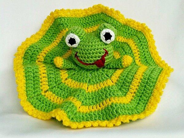 Schnuffeltuch Frosch Häkelanleitung