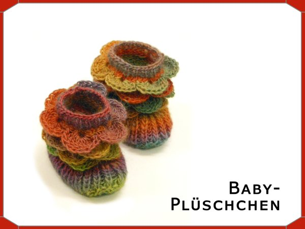 Baby-Püschchen mit Häkel-Rüsche, ca. 9,5 cm, 0-3 Monate, Strick ...