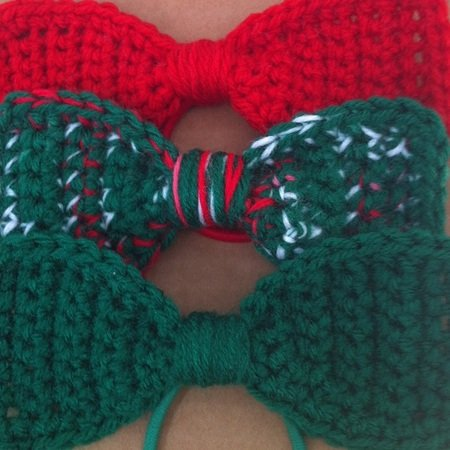 Crochet Bow Ties, Size 5 1/2 inches x 2 1/4 inches // 14 cm x 5 cm, Easy Crochet Bow Ties, Easy Crochet Hair Bow Pattern, Beginners Pattern, Digital Download, Instant PDF Download