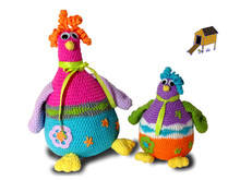 Doorstop chickens, 30 cm high - english
