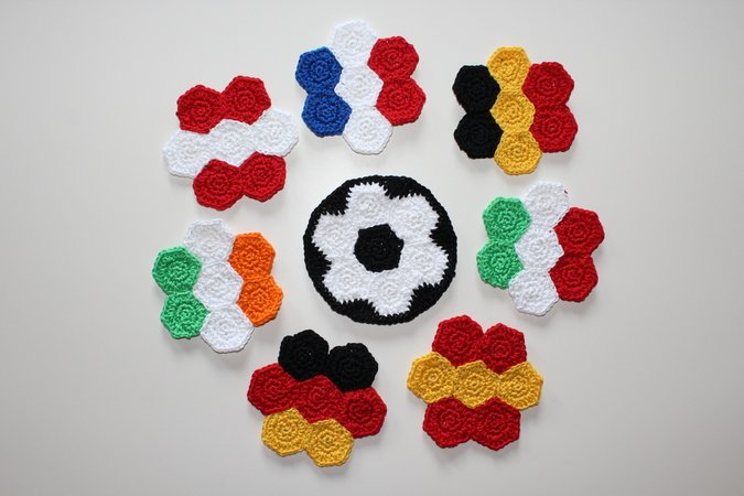 Crochet Pattern For Saucer In Many Country Flags Soccer World Cup