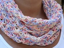 crochet pattern for an infinity scarf in pastel colors