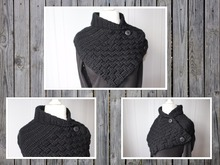 crochet pattern for a shawl collar with a basket pattern