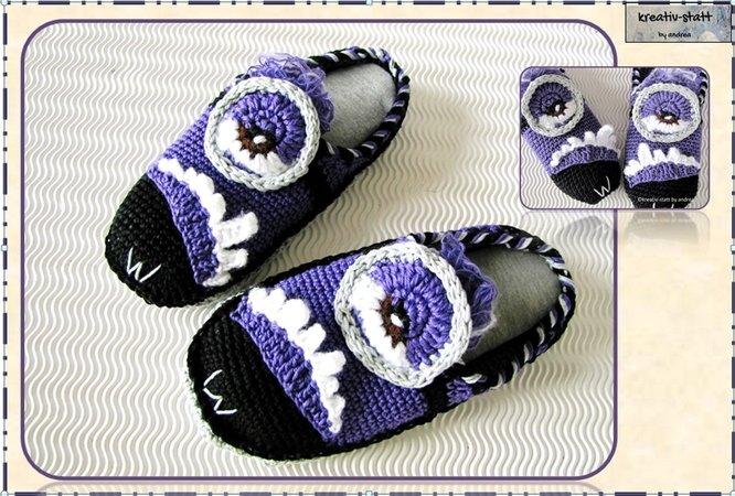 Slippers Monster Minion All Sizes For Beginners Crochet Pattern