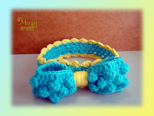 Crochet Baby Headband, Girls Headband, Puff Ribbon, Girls Ribbon Headband