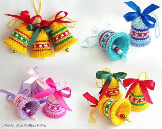Amigurumi Christmas : Knitting pattern bells decor new year christmas easter