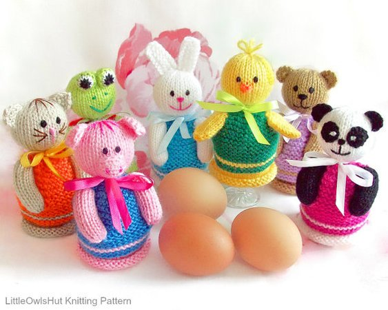 114 Knitting Pattern Eggs Cozy 7 Animals Panda Rabbit Chicken
