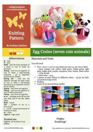 114 Knitting Pattern - Eggs Cozy 7 animals: Panda Rabbit Chicken Frog Bear Cat Pig - Amigurumi - by Zabelina