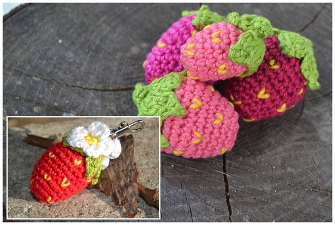 Erdbeeren Häkeln Anhängerdekohäkelspaß