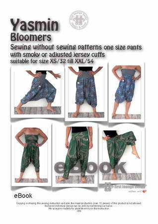 Us-Yasmin *** Bloomers sewing without sewing without patterns one size pants XS-XXL E-Book Pdf
