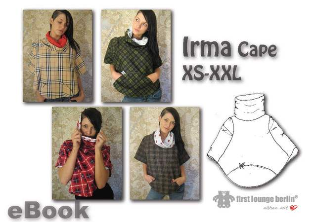 US-Irma Cape Poncho with small belly pocket and huge collar in 4 sizes xs/s - xl/xxl sewing with patterns design by firstloungeberlin