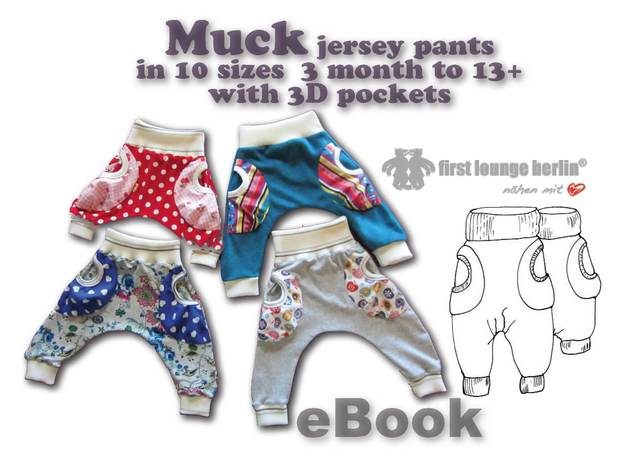 US-Muck eBook Jersey baggy trouser for kids with 3D pockets, sewing instruction & patterns in 10 sizes 3 month - 13+ from firstloungeberlin