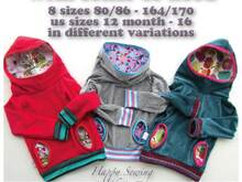US-Jil *** sweater with hood or collar E-Book PDF-file sewing instruction with pattern in 8 sizes 12month - 16 handmade firstloungeberlin