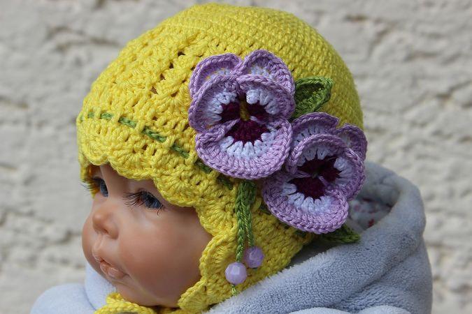 Pansy Baby Hat Crochet Pattern