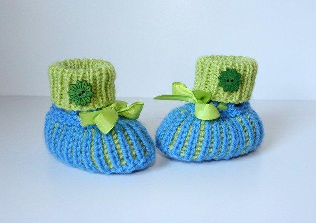 Strickanleitung Baby-Schuhe, Booties, Schühchen im Halbpatent ...