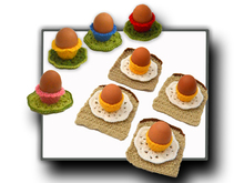 Egg Cup, Egg on Toast & Flower Pattern