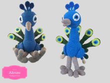 Peacock Amigurumi Tutorial, clear described with photos in English, German and Holland's