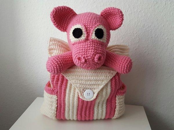 Kinder-Rucksack häkeln // Schweinchen-Motiv