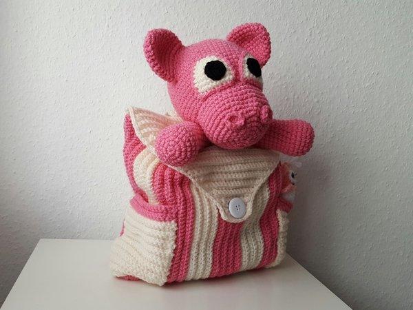 Kinder Rucksack Häkeln Schweinchen Motiv