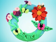 Door wreath flower meadow - crochet pattern